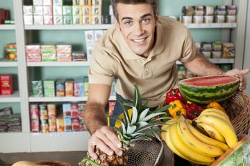 man shopping a vegetables