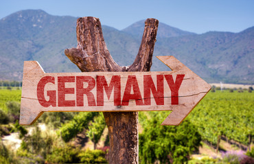 Germany wooden sign with winery background