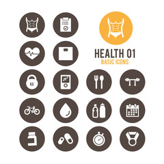 Health & fitness icons. Vector illustration.