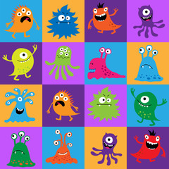 Door stickers Monster Seamless pattern with colorful monsters in squares