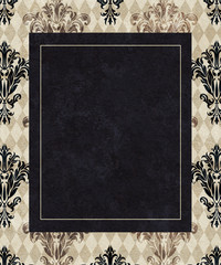Chic Frame Copy Space on Taupe Harlequin and Damask