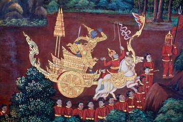 Scene from the Ramakien at Wat Phra Kaew temple in Bangkok, Thailand