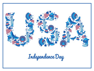 USA  independence day.Illustration typography