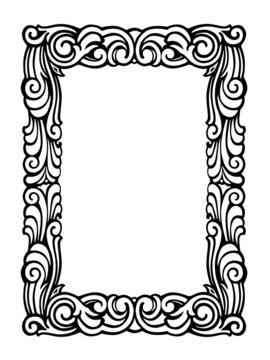 Cute Swirly Frame of Black Ink Swirls on White