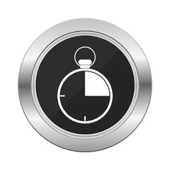Stopwatch icon silver button