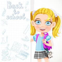 Cute schoolgirl hold big banner