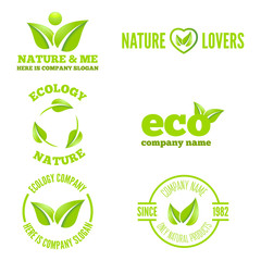 Logo, badge, label, logotype elements with leafs for web