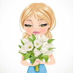Cute blond girl holding beautiful bouquet white tulips on white