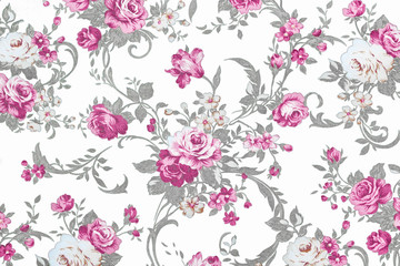 pink  rose on white fabric background, Fragment of colorful retr