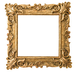 Antique golden frame on white background. Retro style object