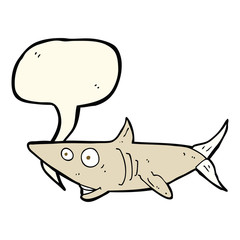 cartoon happy shark with speech bubble