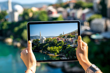 Photographing with digital tablet Mostar city