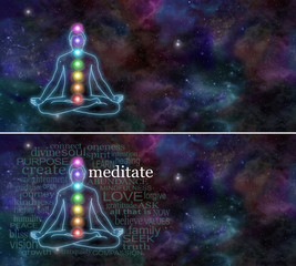 Chakra Meditation - Deep space background with the outline of a man meditation in lotus position with the seven rainbow colored chakras in the body's mid line, surrounded by a meditation word cloud