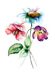 Peony, Chamomile and Tulip flowers
