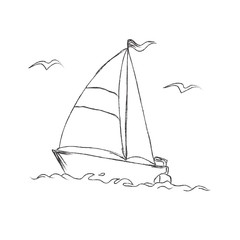 Vector, illustration, sketchy, boat