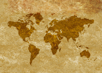 Grunge Antiqued World Map on Parchment