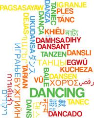 Dancing multilanguage wordcloud background concept