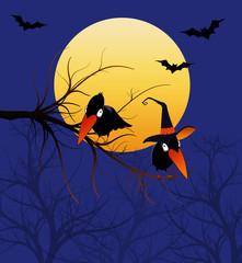 Halloween Cartoon Crows