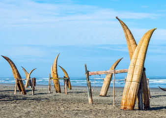 Traditional Peruvian small Reed Boats - Caballitos de Totora