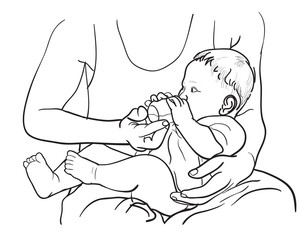 Drawing of father feeding baby with milk in bottle
