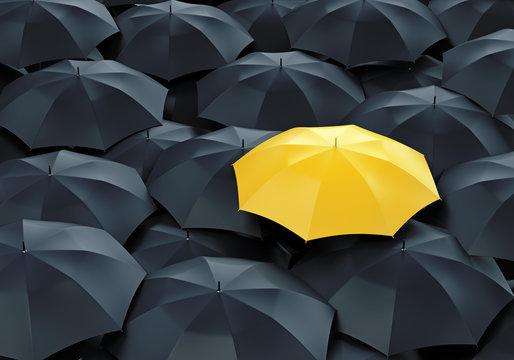 Yellow umbrella among dark ones
