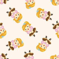 family girl character ,seamless pattern