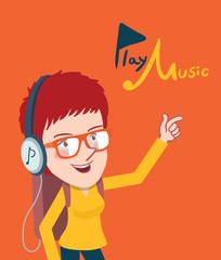 Drawing flat character enjoying music, girl design  concept,vector illustration