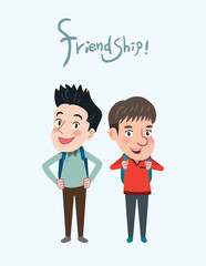 Drawing flat character design friendship concept ,vector illustration