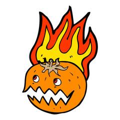 cartoon flaming pumpkin