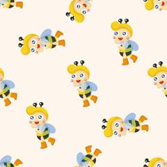 bee cartoon ,seamless pattern