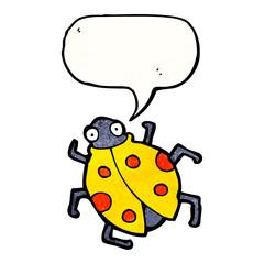 cartoon ladybug with speech bubble