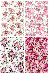 collection pink rose vintage on fabric background