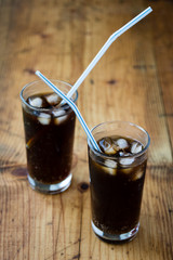 soda whit ice and straw