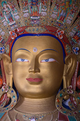 Maitreya Buddha at Tiksey Monastery in Ladakh, India.