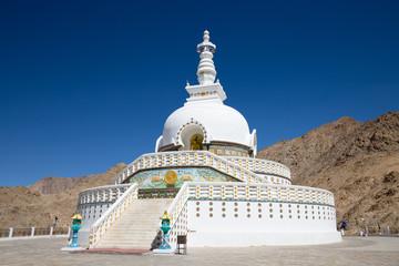 Shanti Stupa is a Buddhist white domed stupa in Leh, India