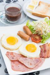 set of american breakfast for morning