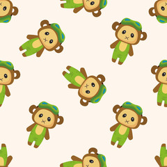 animal monkey summer cartoon ,seamless pattern