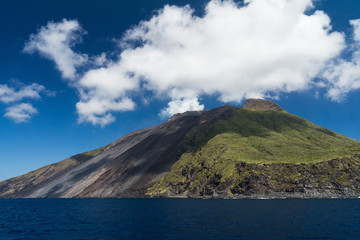 Stromboli is an island and an active volcano in the Tyrrhenian Sea