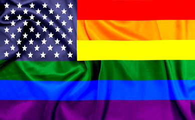 LGBT flag colors combined with U.S flag
