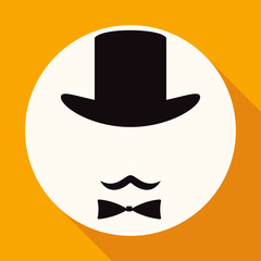 Bowler hat and moustache on white circle with a long shadow