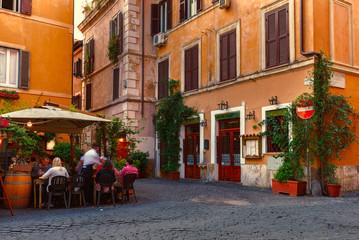 Poster Rome Old street in Trastevere in Rome, Italy