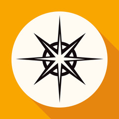 Icon Compass on white circle with a long shadow