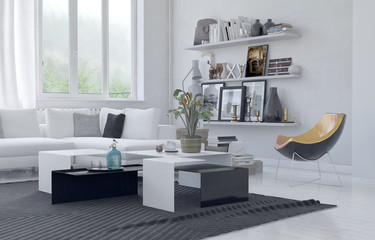 Modern homely living area with white decor