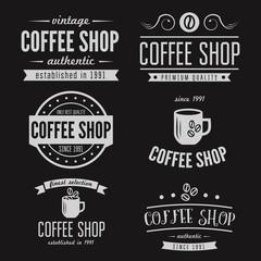 Set of vintage labels, emblems, and logo templates for coffee