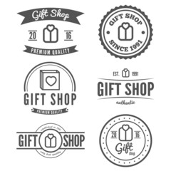 Set of vintage logo, label, badge and logotype elements for gift