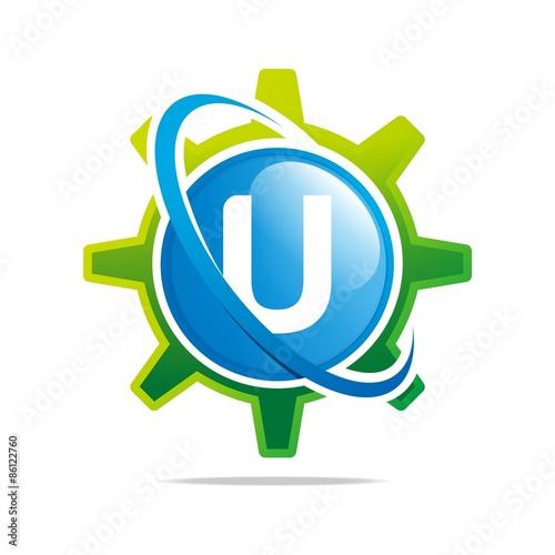 "logo circle globe gear letter u blue abstract vector symbol"" stock"