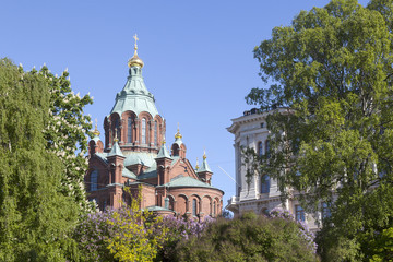 uspenski cathedral in helsinki with purple and white flowering t
