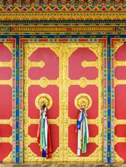 Kapan buddhist monastery door detail, Nepal