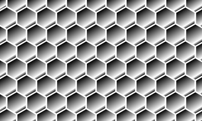 Modern Abstract Background Hexagonal Design chrome silver