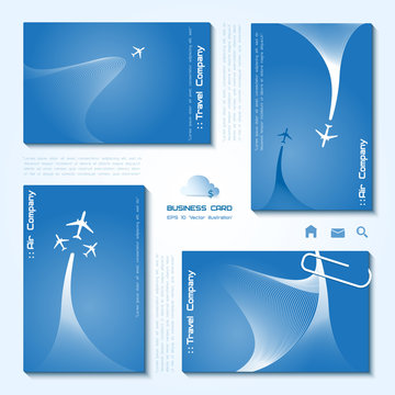 Vector set of air company business cards, minimalistic style, whirlwind of airplane, for travel agencies, aviation companies